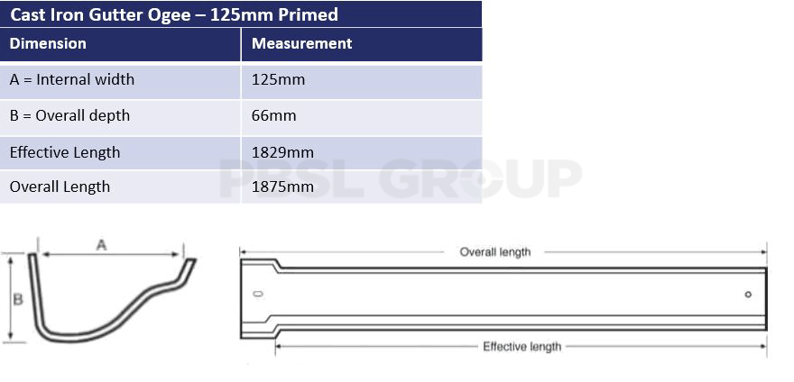 125mm Cast Iron Ogee Primed Dimensions