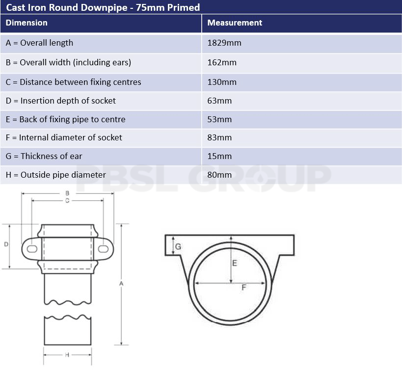 75mm Primed Cast Iron Round Downpipe Dimensions