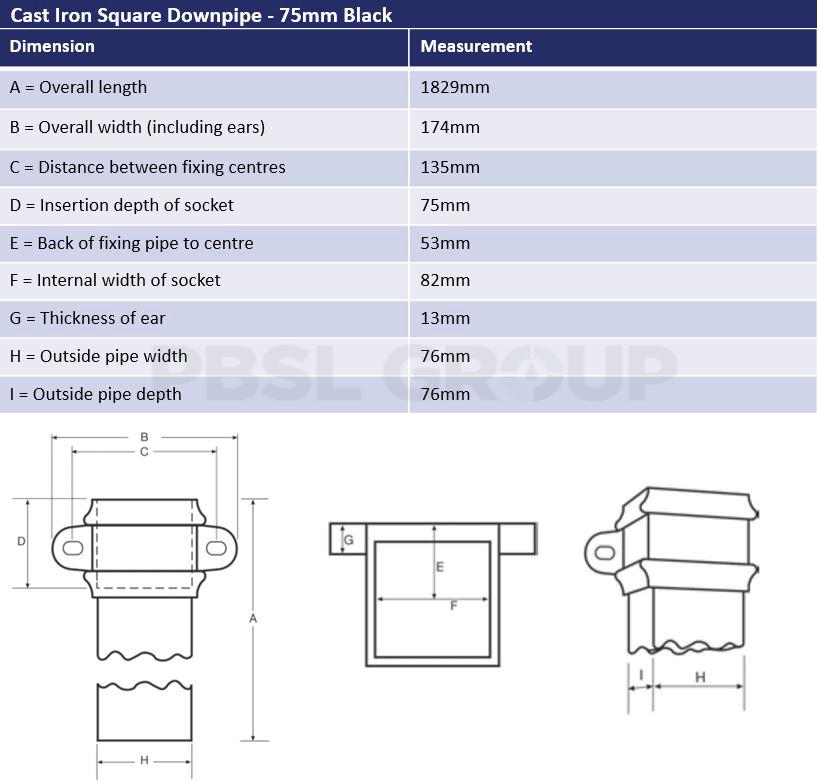 75mm Primed Cast Iron Square Downpipe Dimensions