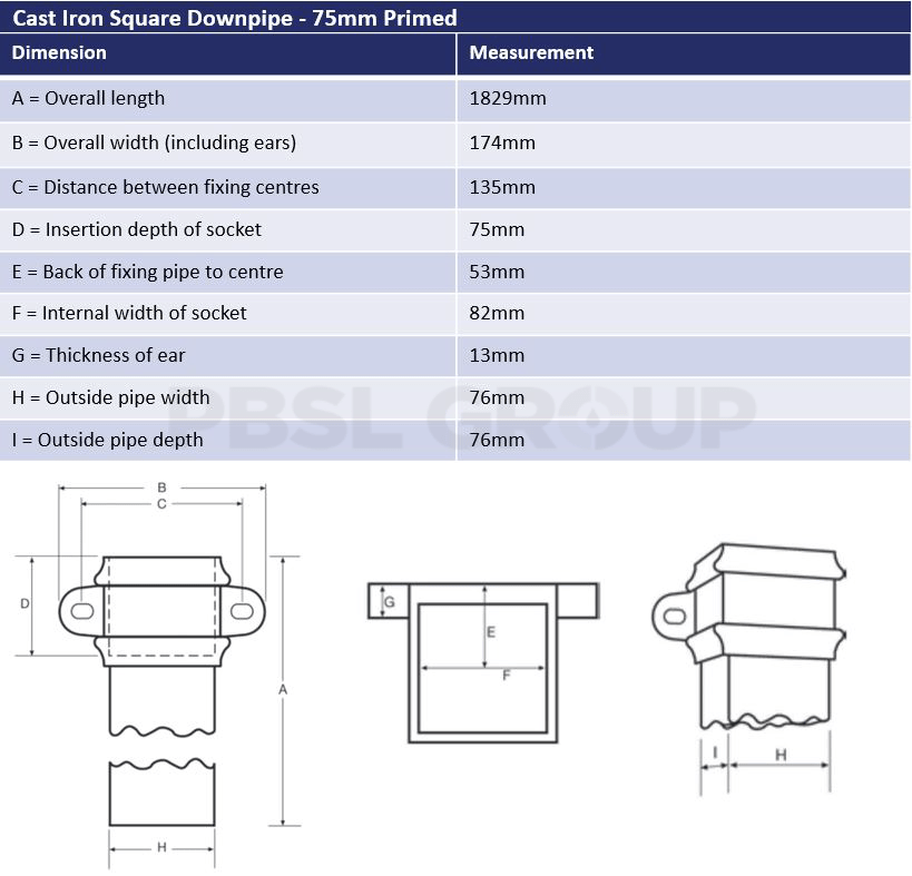 75mm Primed Cast Iron Square Downpipe Dimensions